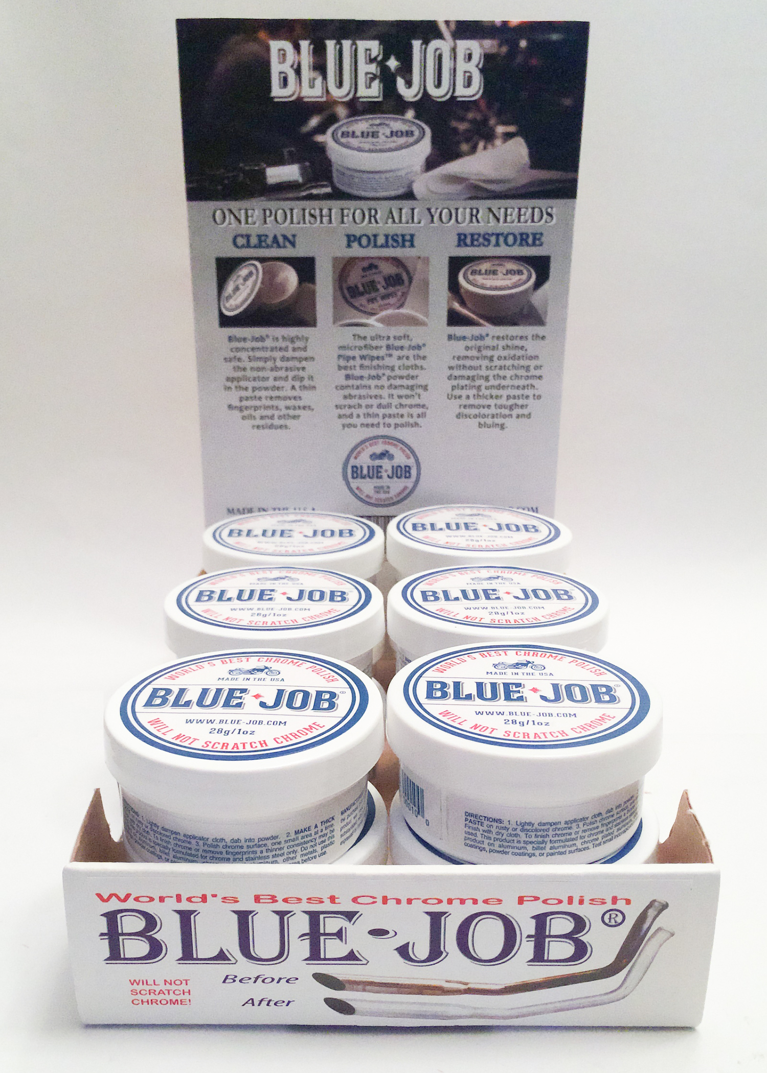 Blue-Job Chrome Polish 12-Pack Retail Display